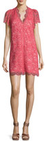 Rebecca Taylor Short-Sleeve V-Neck Lace Mini Dress