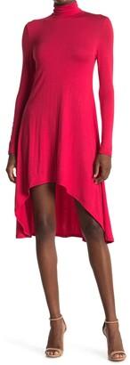 Velvet Torch Mock Neck High/Low Hem Skater Dress
