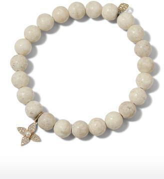 Sydney Evan 14k Pearl Flower & Fossil Bracelet