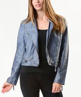 Paparazzi Denim Faux Leather Moto Jacket