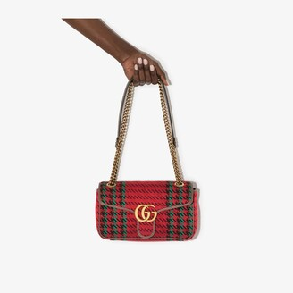 Gucci red GG Marmont small houndstooth shoulder bag