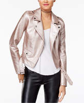 Material Girl Juniors' Metallic Faux-Leather Moto Jacket, Created for Macy's