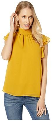 1 STATE Flutter Sleeve Smocked Neck Blouse (Soft Ecru) Women's Blouse
