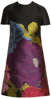 Valentino Ortensie Floral Brocade Shift Dress