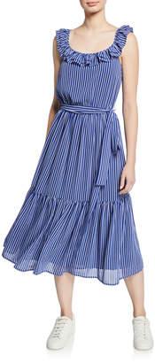 MICHAEL Michael Kors Ruffled Railroad Stripe Midi Dress