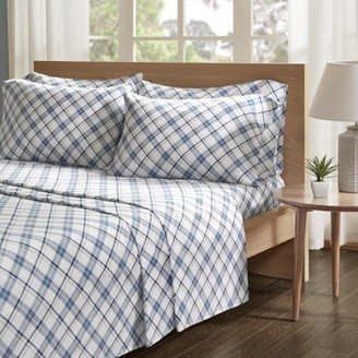 Comfort Spaces Plaid 100% Cotton Flannel Printed Sheet Set, King, Blue