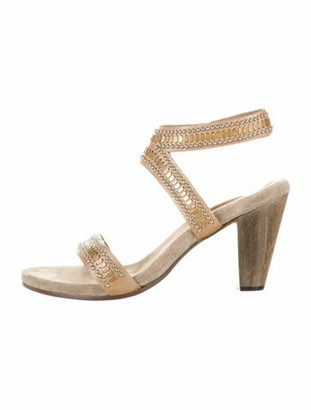 Calleen Cordero Leather Studded Accents Sandals Gold