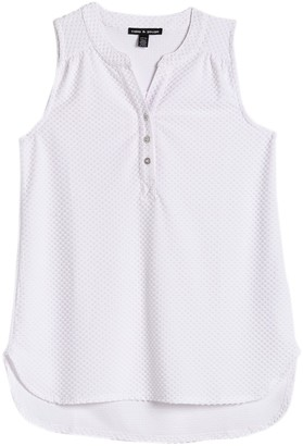 Cable & Gauge Sleeveless Split Neck High/Low Top