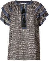 Ulla Johnson ruffle shoulder V-neck blouse - women - Silk - 0