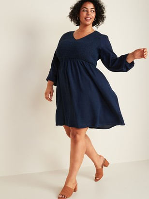 Old Navy Chambray Smocked-Bodice Fit & Flare Plus-Size Dress