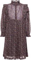 Thumbnail for your product : BA&SH Ruffle-trimmed Printed Metallic Chiffon Mini Dress