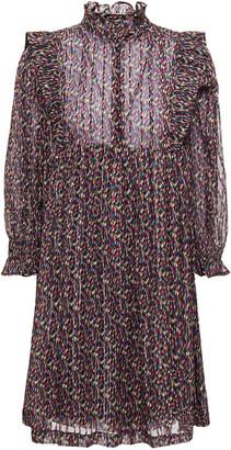 BA&SH Ruffle-trimmed Printed Metallic Chiffon Mini Dress