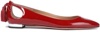 Aquazzura Forever Ballet Cutout Patent-leather Point-toe Flats