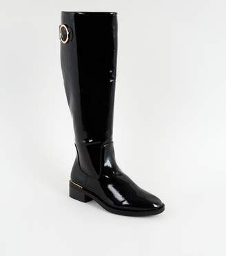 New Look Patent Metal Trim Knee High Boots