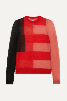 Rick Owens Color-block Mohair-blend Sweater - Red