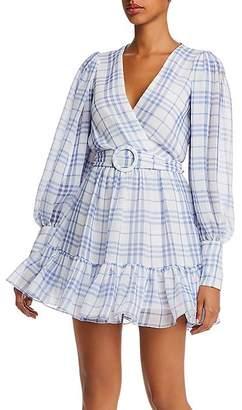 Bec & Bridge Alexa Plaid Puff Sleeve Mini Dress