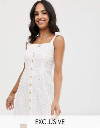 Vila button through broderie cami mini dress-White