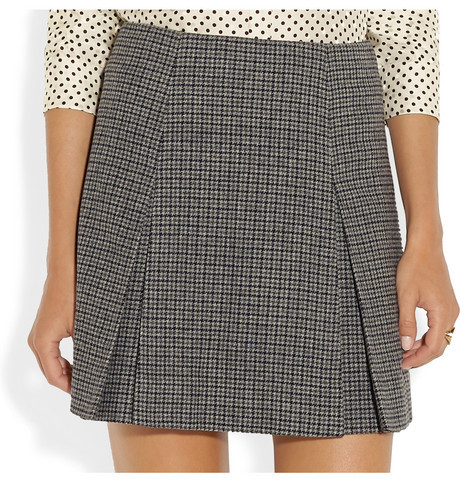 Marc Jacobs Pleated houndstooth wool mini skirt