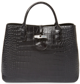 Longchamp Roseau Croco Embossed Small Leather Tote