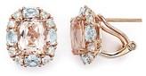Bloomingdale's Morganite, Aquamarine and Diamond Stud Earrings in 14K Rose Gold