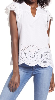 Faherty Brand Aurora Cotton Eyelet Blouse