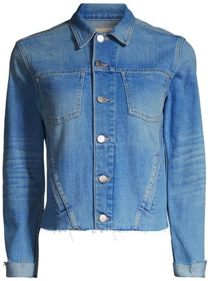 L'Agence Janelle Slim-Fit Raw Hem Denim Jacket