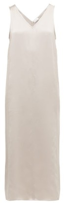 Raey High V-neck Silk Midi Dress - Grey