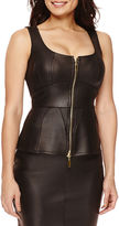 Bisou Bisou Faux-Leather Zip-Up Bustier Top