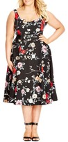 City Chic Plus Size Women's Belted Floral Fit & Flare Dress