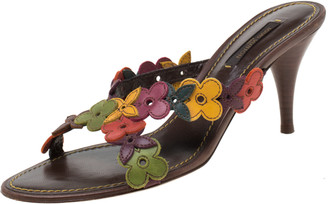 Louis Vuitton Multicolor Floral Leather Slip On Sandals Size 37.5