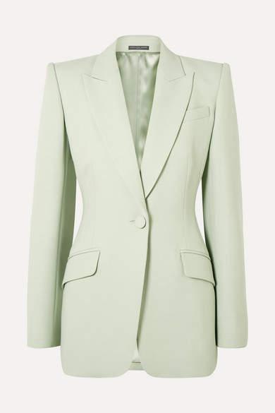 Alexander McQueen Wool-blend Crepe Blazer - Mint