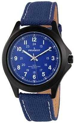 Peugeot Men Black Aviator Watch 24Hr Time Markers
