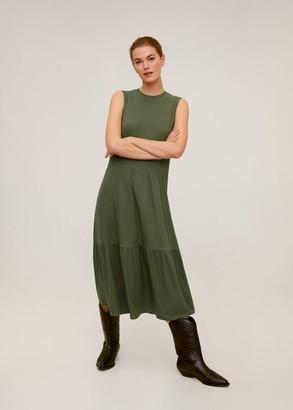 MANGO Ruffled ribbed dress khaki - 4 - Women
