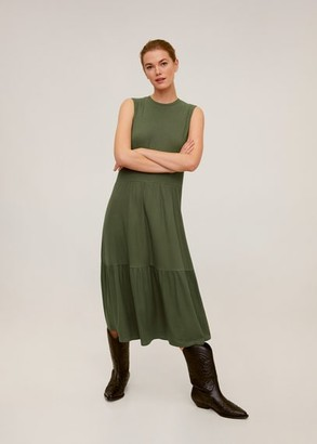 MANGO Ruffled ribbed dress khaki - 6 - Women