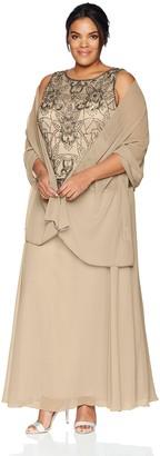 J Kara Women's Plus Size Long Sleeveless Antique Dress with Scarf