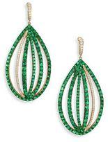 Ivy Diamond & Green Tsavorite Caged Drop Earrings