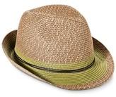 Merona Women's Green Stripe Fedora Hat with String Sash - Brown