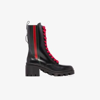 Gucci black Web stripe 40 lace-up boots