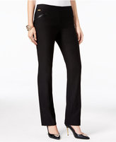 Thalia Sodi Faux-Leather-Trim Bootcut Pants, Only at Macy's