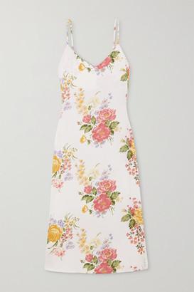 Reformation Boston Floral-print Crepe Midi Dress - Ecru