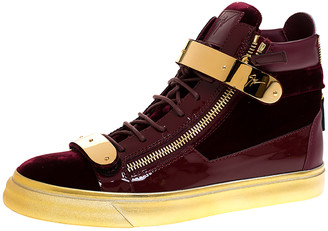 Giuseppe Zanotti Burgundy/Gold Velvet and Patent Leather Coby High Top Sneakers Size 43.5