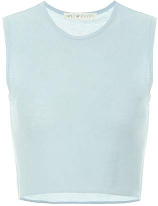 Live The Process Crop cotton and cashmere top