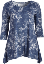 Glam Navy & White Floral Sidetail Top - Plus