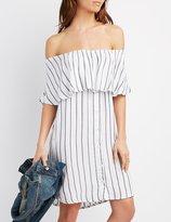 Charlotte Russe Off-The-Shoulder Button Front Dress