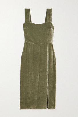 Reformation Velvet Midi Dress - Green