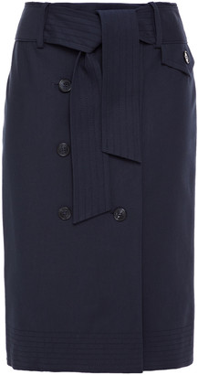 BA&SH Week Belted Button-detailed Stretch-cotton Pencil Skirt