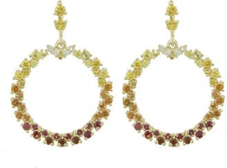 Ruta Reifen White, Red, Orange, Yellow Sapphire Show Love Yellow Gold Hoop Earrings