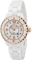Akribos XXIV Women's AK485WTR-N Ceramic Quartz Date Diamond Watch