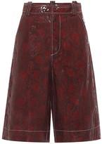 Ganni Snake-effect leather shorts