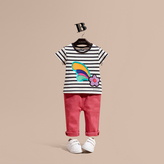 Burberry Striped Cotton T-shirt with Print and Flower Appliqué